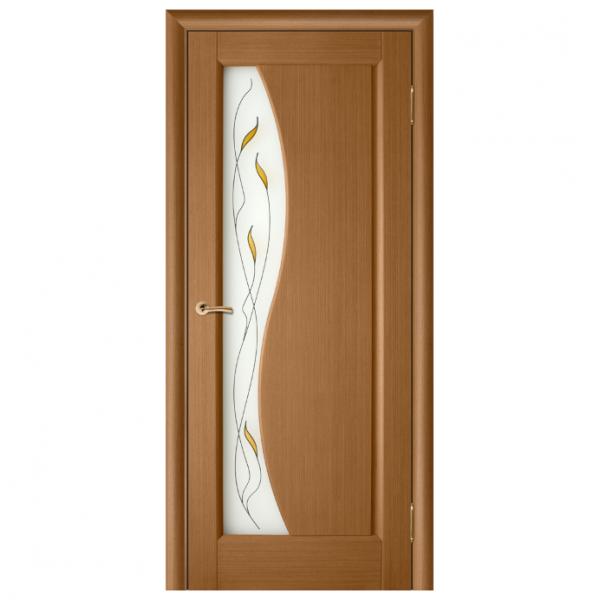 Дверь межкомнатная Шпонированная дубом. Модель Руссо ПО цвет Орех