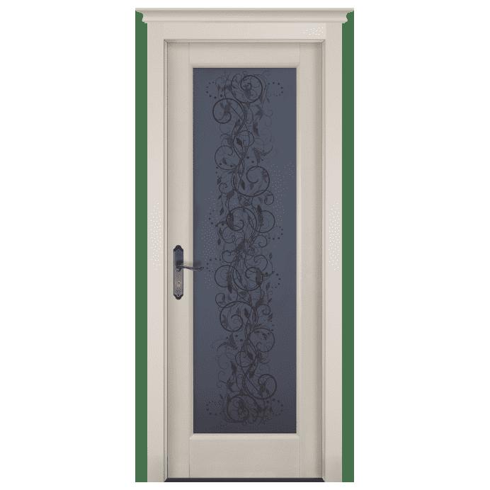 Межкомнатная дверь Массив ольхи Витраж. Белый (эмаль)